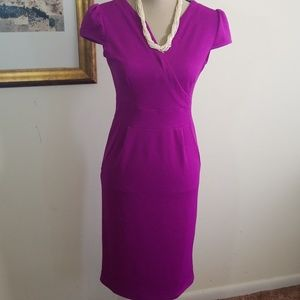 Dresses & Skirts - Fuchsia Surplice Fitted Dress Cap Sleeves